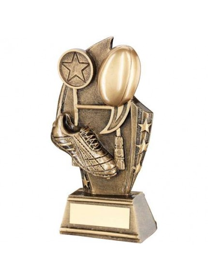 Brz/Gold Rugby Curved Plaque Trophy - Available in 3 Sizes
