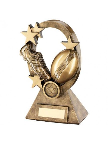 Brz/Gold Rugby Oval/Stars Series Trophy - Available in 3 Sizes