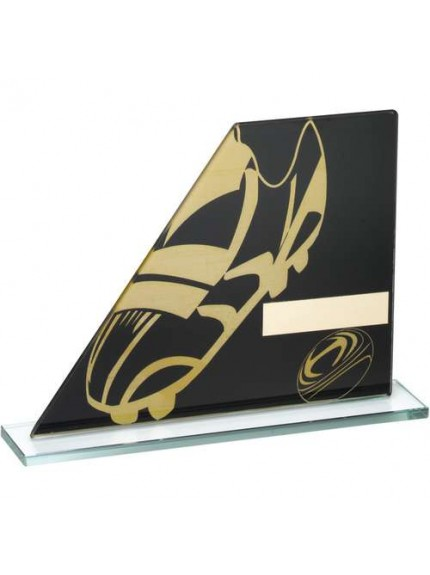 Black/Gold Printed Glass Plaque With Rugby Boot/Ball Trophy - Available in 3 Sizes