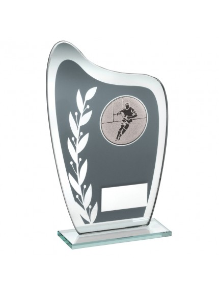 Grey And Silver Glass Plaque With Rugby Insert Trophy