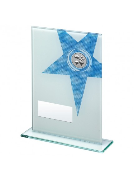 White/Blue Printed Glass Plaque With Cards insert Trophy - 3 Sizes