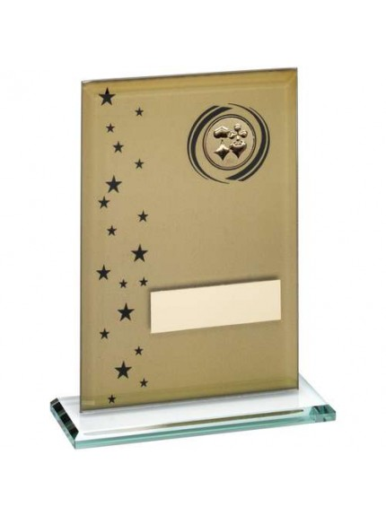 Gold/Black Printed Glass Rectangle With Cards Insert Trophy - Available in 3 Sizes