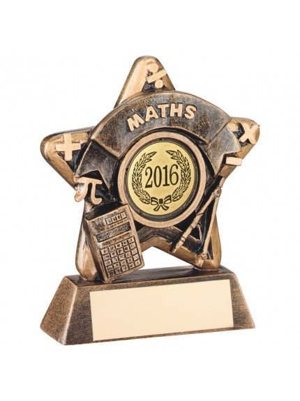 Amazing Bronze and Gold Maths Mini Star Trophy