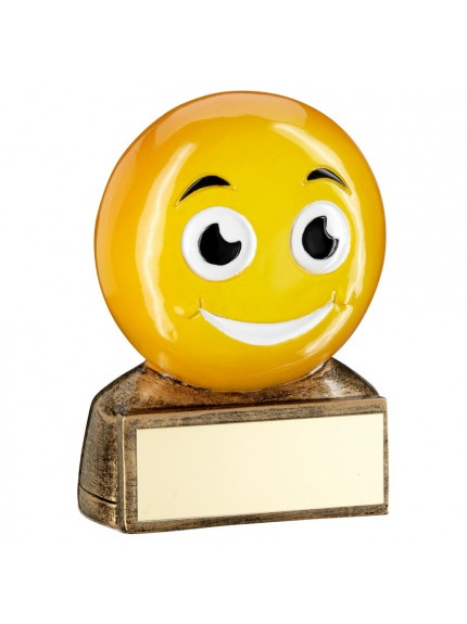 Brz/Yellow 'Smiling Emoji' Figure Trophy - 2.75inch