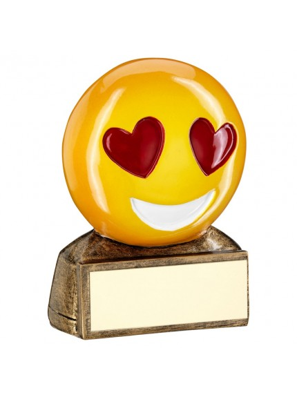 Brz/Yellow/Red 'Heart Eyes Emoji' Figure Trophy - 2.75inch