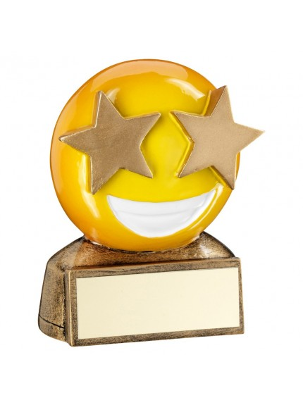 Brz/Yellow 'Star Eyes Emoji' Figure Trophy - 2.75inch
