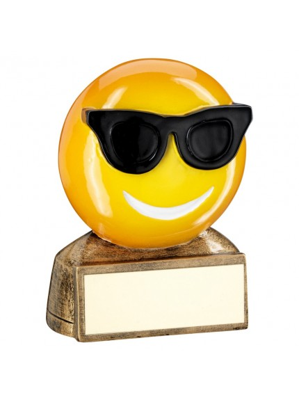Brz/Yellow/Black 'Sunglasses Emoji' Figure Trophy - 2.75inch