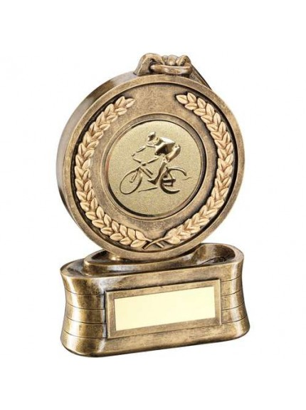 Brz/Gold Medal And Ribbon With Cycling Insert Trophy - Available in 3 Sizes