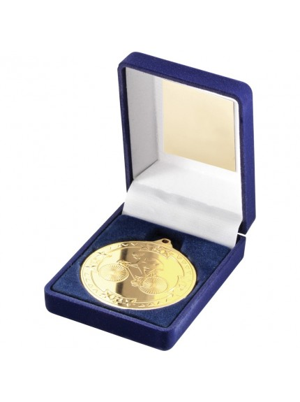 Blue Velvet Box With Cycling Medal