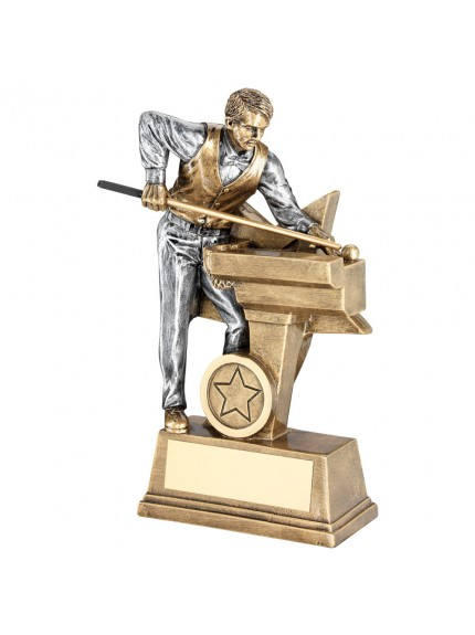Brz/Pew Male Pool/Snooker Figure With Star Backing Trophy