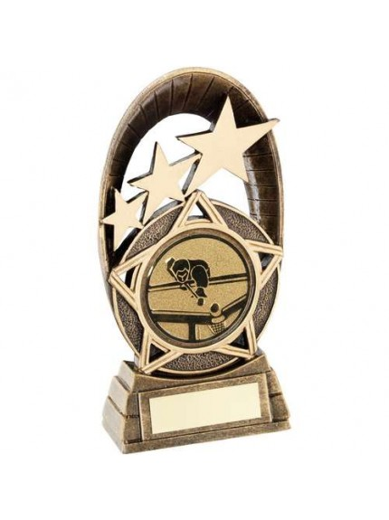 Brz/Gold Generic Tri-Star Oval With Pool/Snooker Insert Trophy - Available in 3 Sizes