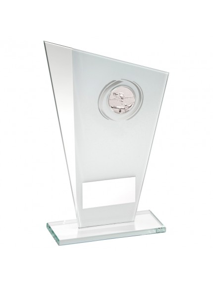 White/Silver Printed Glass Plaque With Pool/Snooker insert Trophy