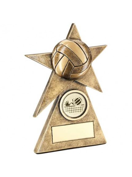 Brz/Gold Volleyball Star On Pyramid Base Trophy - 3 Sizes