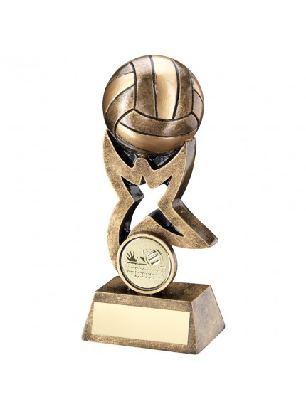 Bronze And Gold Volleyball On Star Trophy Riser Trophy