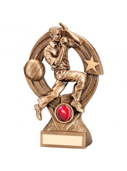 Bronze And Gold Cricket Bowler 'Quartz' Figure Trophy