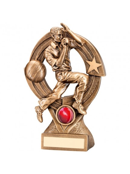 Bronze And Gold Cricket Bowler 'Quartz' Figure Trophy