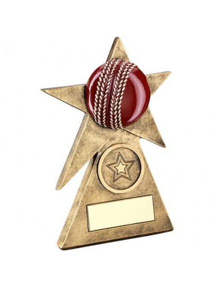Brz/Gold/Red Cricket Star On Pyramid Base Trophy - Available in 3 Sizes