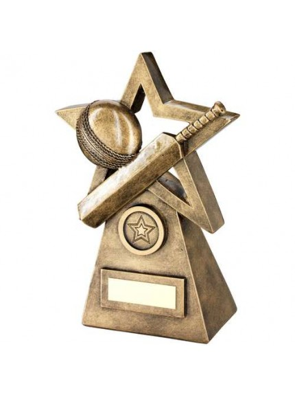 Brz/Gold Cricket Ball/Bat On Star And Pyramid Trophy - Available in 3 Sizes