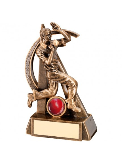 Bronze And Gold Cricket Bowler Geo Figure Trophy