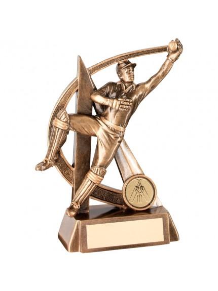 18cm Bronze & Gold Cricket Wicketkeeper Geo Figure Trophy