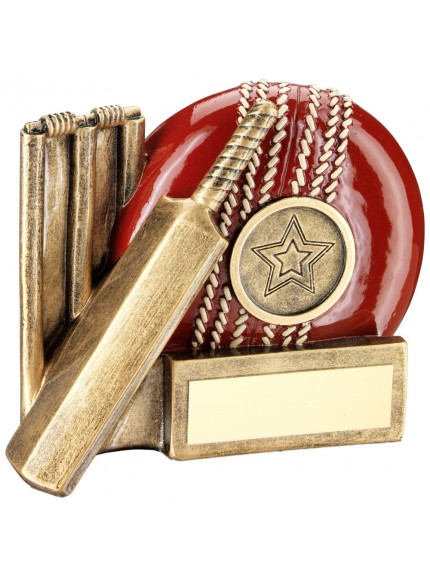 Brz/Red Cricket Ball, Bat And Stumps Chunky Flatback Trophy (1 inch Centre) - 2.75I