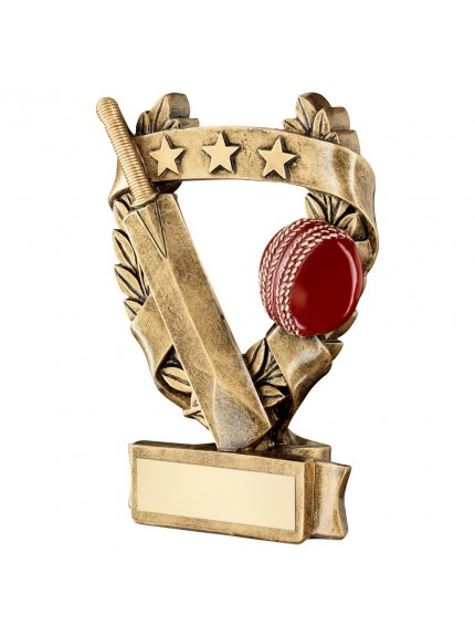 Brz/Gold/Red Cricket 3 Star Wreath Award Trophy - 3 Sizes