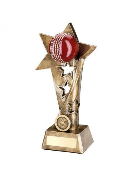 Brz/Gold/Red Cricket Twisted Star Column Trophy - Available in 3 Sizes