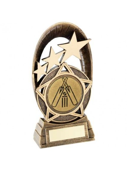 Brz/Gold Generic Tri-Star Oval With Cricket Insert Trophy - Available in 3 Sizes