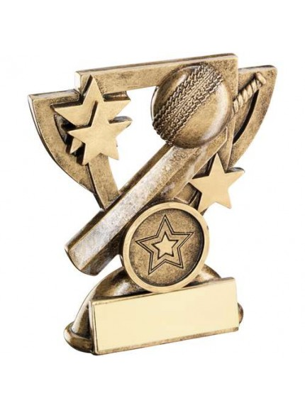 Brz/Gold Cricket Mini Cup Trophy - Available in 2 Sizes