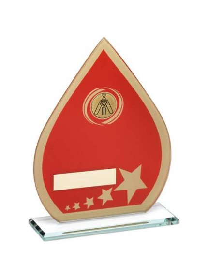 Red/Gold Printed Glass Teardrop With Cricket Insert Trophy - Available in 3 Sizes