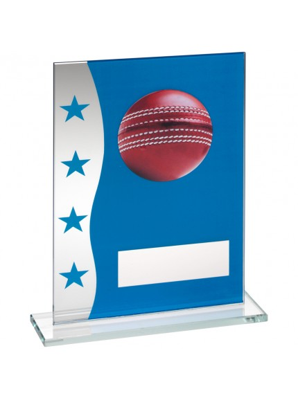 Blue/Silver Printed Glass Plaque With Cricket Ball Image Trophy
