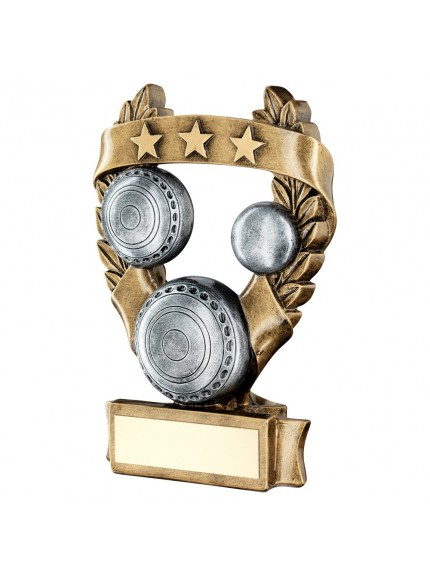 Brz/Pew/Gold Lawn Bowls 3 Star Wreath Award Trophy - 3 Sizes