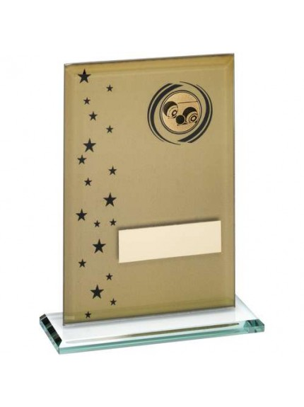 Gold/Black Printed Glass Rectangle With Lawn Bowls Insert Trophy - Available in 3 Sizes
