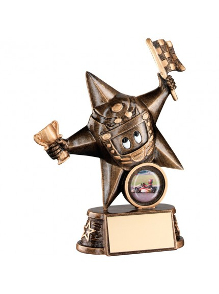 Bronze And Gold Resin Motor Sport 'Comic Star' Figure Trophy