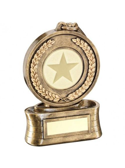 Brz/Gold Medal And Ribbon Holder Trophy - Available in 3 Sizes
