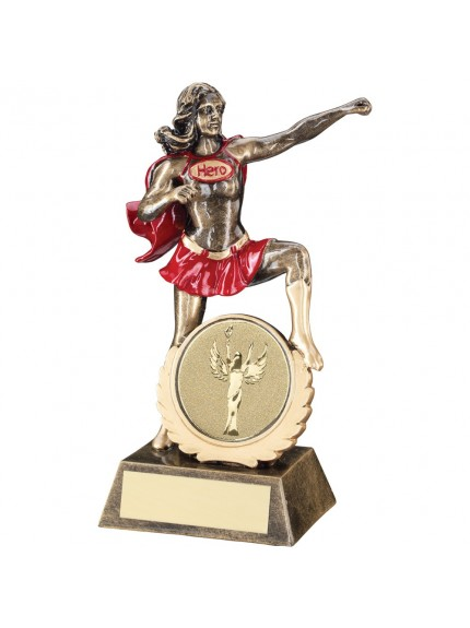 19cm Bronze & Gold & Red Generic Female 'Hero' Trophy - 7.5In