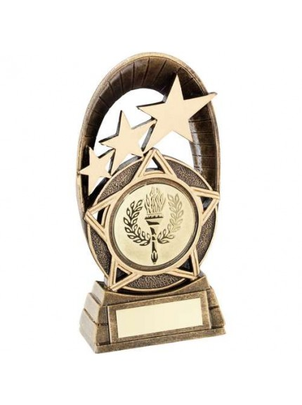 Brz/Gold Generic Tri-Star Oval Plaque Trophy - Available in 3 Sizes