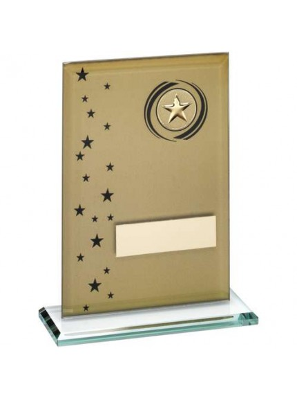 Gold/Black Printed Glass Rectangle With Wreath/Stars Trophy - Available in 3 Sizes