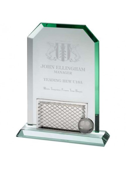 Jade Glass Rectangle Football With Removable Base (10mm Thick) - Available in 3 Sizes