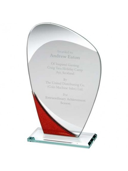 Jade Glass Curved Plaque With Red/Silver Detail - Available in 3 Sizes