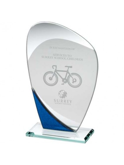 Jade Glass Curved Plaque With Blue/Silver Detail - Available in 3 Sizes