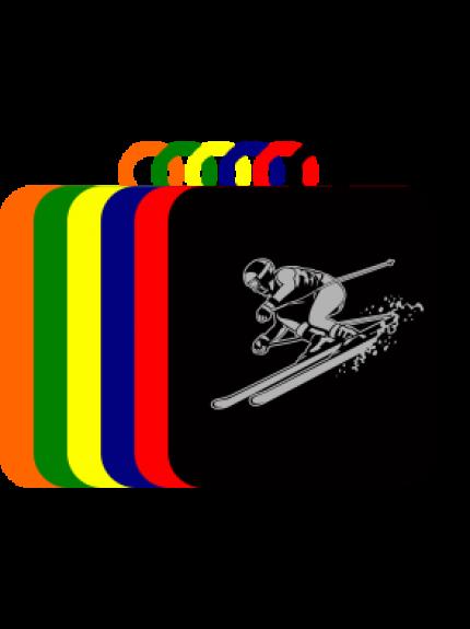 50mm Acrylic Ski-ing Square Medal