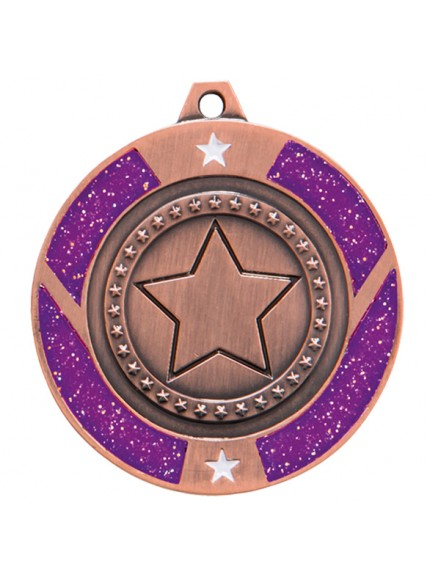 Glitter Star Medal Purple 50mm - Available in Gold, Silver and Bronze