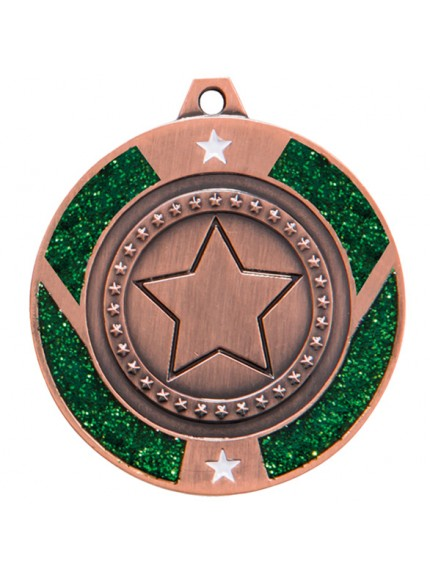 Glitter Star Medal Green 50mm - Available in Gold, Silver and Bronze