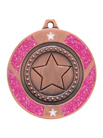 Glitter Star Medal Pink 50mm - Available in Gold, Silver and Bronze