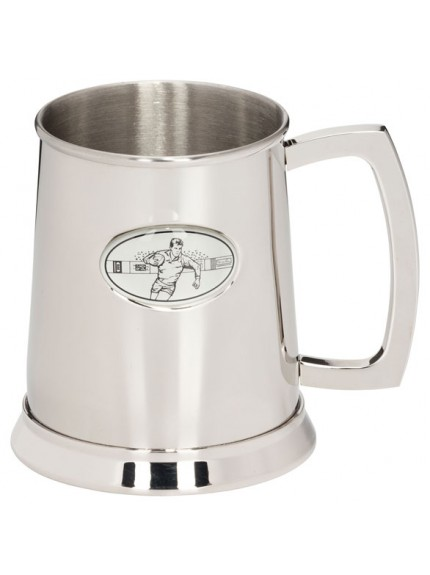 The Rugby Stadia Polished Steel Tankard 125mm 1pt