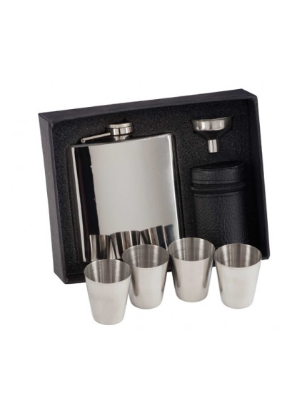 Aintree Polished Steel Flask & Cups 6oz