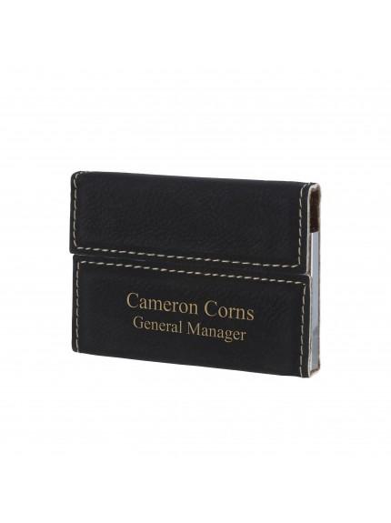Leatherette Black Name Card Holder