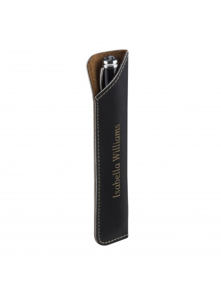 Leatherette Black Leatherette Pen Case