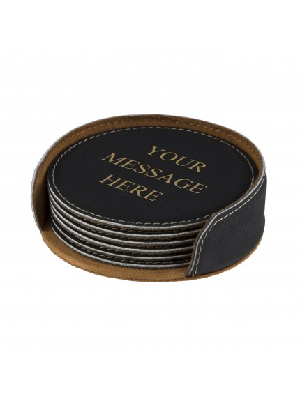 Leatherette Black Coaster Set (x6)